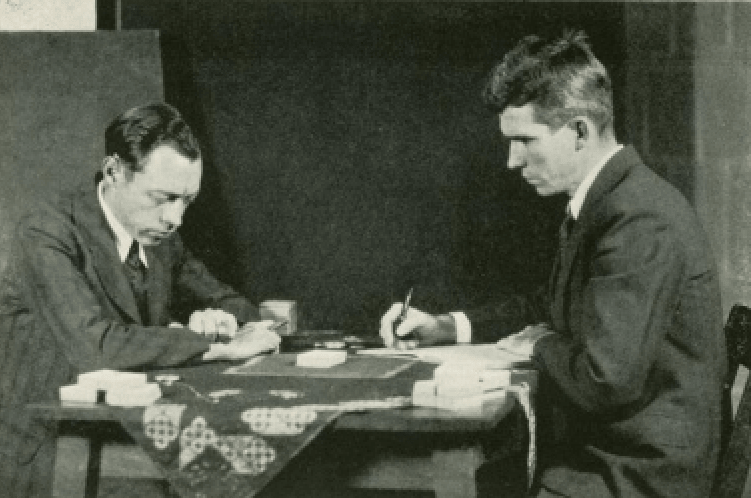Hubert Pearce with parapsychologist J. B. Rhine experimenting with Zener cards.
